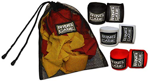 Ring to Cage Mexican180 Hand Wraps for MMA & Boxing – 3 Pairs Pack + Wash Bag