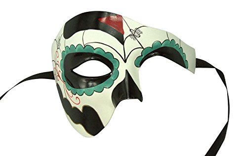 Day of The Dead - Masquerade Mask for Mardi Gras or Halloween - Green & White (Couple Themed Halloween Costumes)