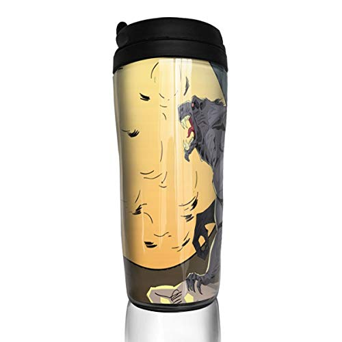 Bei Tang Coffee Cup Halloween Background with Wolf Travel Tumbler Insulated Leak Proof Drink Containers Holder Personalized 12 Ounces -