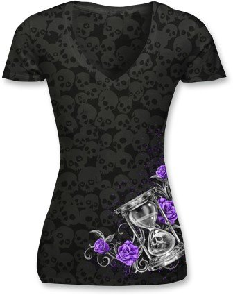 Lethal Threat Women's Shirt (Hourglass Skull Burnout)(Black, XX-Large), 1 Pack