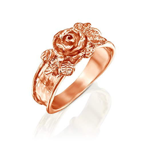 Sterling Silver Flower Vine - PZ Paz Creations 14k Rose Gold Over 925 Sterling Silver Rose Flower Ring (Rose Gold, 6)