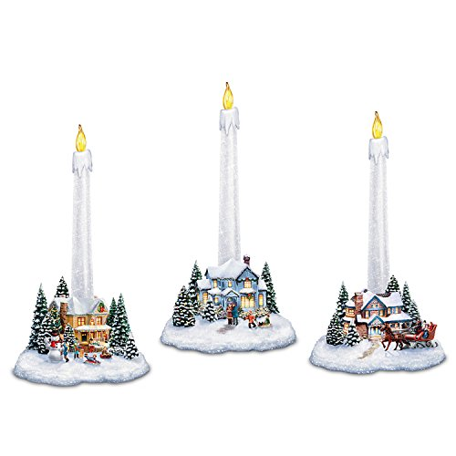 The Bradford Exchange Thomas Kinkade Holiday Lights, Spirits Bright Village Candleholders with Flameless Candles (Collection Furniture Bradford)