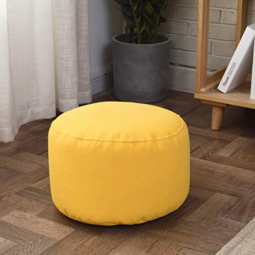 ZAIPP Pouf Ottoman Footstool,Solid Color Bean Bag Floor Chair Comfortable Foot Rest Pouffe Removable for Living Room Bedroom Kids Room-Yellow 35x22cm(14x9inch)