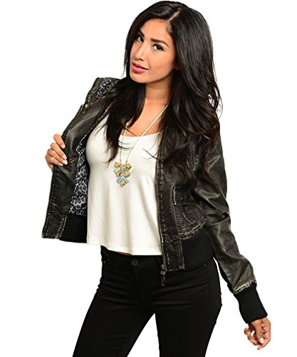 Simplicity Women's Washed Out, Soft PU/Faux Leather Jacket with Hoodie, S