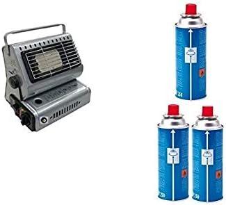Estufa estufa a gas portátil doble casquillo GPL/Butano + 3 cartucho original Campingaz ()
