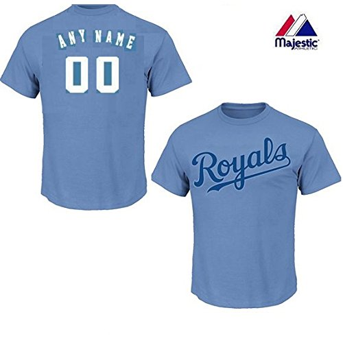 CUSTOM Adult Small Light Blue Kansas City Royals MLB Licensed Cotton Crewneck Replica Jersey T-Shirt