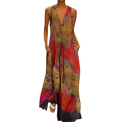 Women's Vintage Bohemian Floral Sleeveless V-Neck Dress Feather Print Maxi Long Dress]()