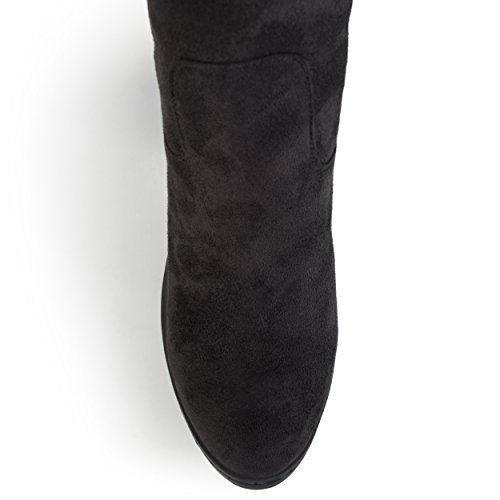Journee Collection Botte À Talons Hauts En Daim Synthétique, Large Et Molletée Femme, Noir, 11 Regular Us
