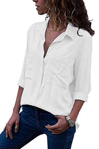 Yidarton Women's Long Sleeve V Neck Chiffon Blouses Tops Button Down Business - Shirt Blouse White