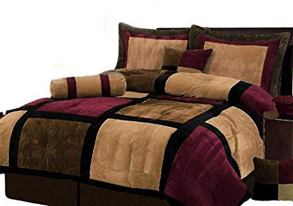 (Burgundy + Brown and Black Suede Patchwork Comforter Set/Bed-In-A-Bag (CALIFORNIA)