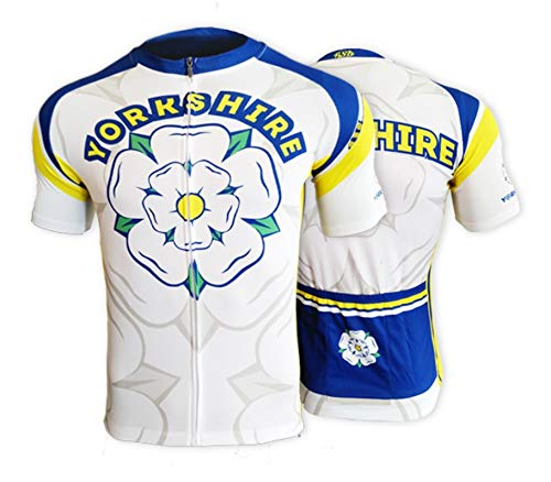 BSK Yorkshire Rose Flag Mens Short Sleeve Cycle Jersey Cycling Shirt Top WHITE