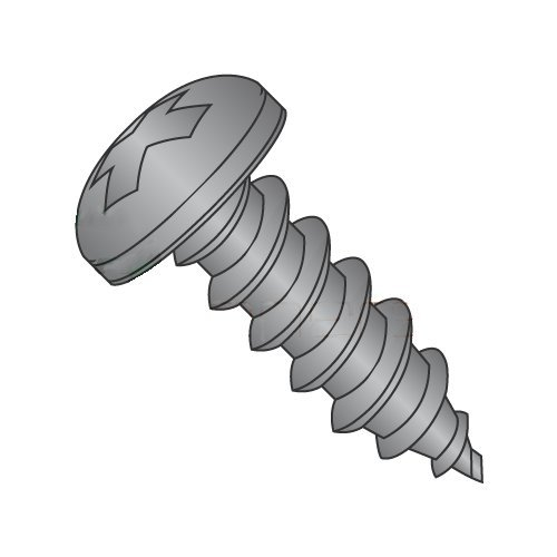 #14 x 1 1/2'' Type A Self-Tapping Screws/Phillips/Pan Head/Steel/Black Oxide (Carton: 2,000 pcs) by Newport Fasteners