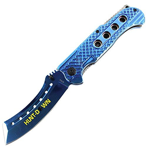 Hunt-Down-9-Spring-Assisted-Folding-Knife-Slotted-Edge-Blue-Blade-Handle