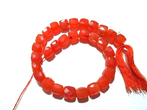 - Natural Orange Carnelian Cube Shape Beads|7-8mm Faceted Beads for Jewelry Making |8