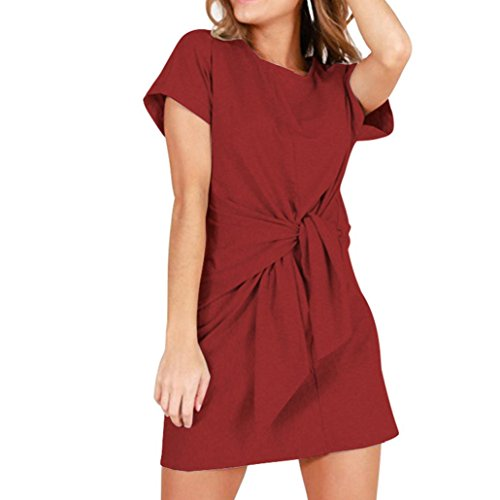 28c3cf11b55f3c Sommer Mini O-ausschnitt Rot Kleid Bandage Dress Kleid Kurzarm Huhu833  Fashion Damen ...