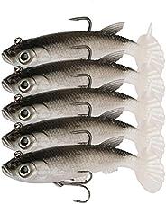 WYSUMMER Fishing Lure Set, 5Pcs 8cm Soft Bait Head Sea Fish Lures Fishing Tackle Sharp Treble Hook T Tail Arti