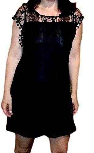 Summer Dress Women Casual Beach Short Dress Tassel Black White Mini Lace Dress Sexy Party Dresses S-XXL black - Macys Nh