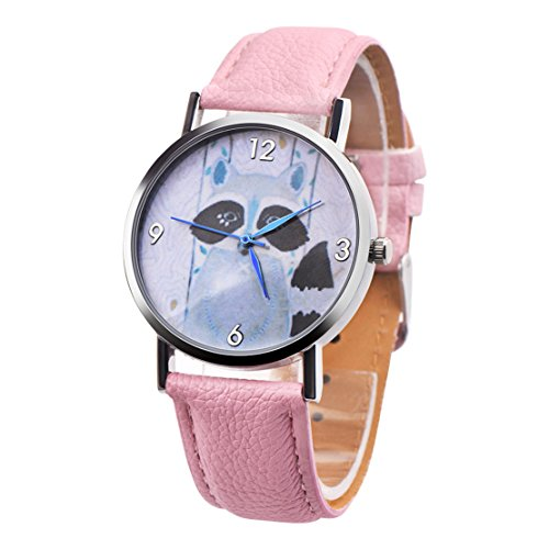 MOSE Clearance!!! Cute Children Retro Design Leather Band Civet Cats Analog Alloy Quartz Wrist Watch (Pink) Analog Consumer Telephone