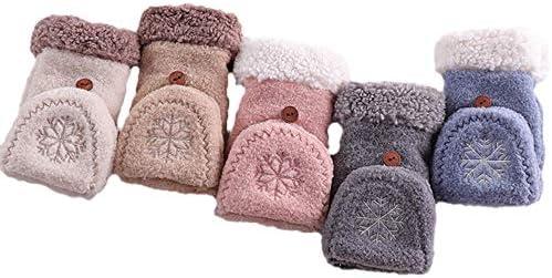 Twinstar ミトン手袋 レディース 半指グローブ 指なし コンバーチブル ニットグローブ ミトンカバー付き スマホ手袋 かわいい 裏起毛 暖かい 防風性と防寒性 女性 秋冬用