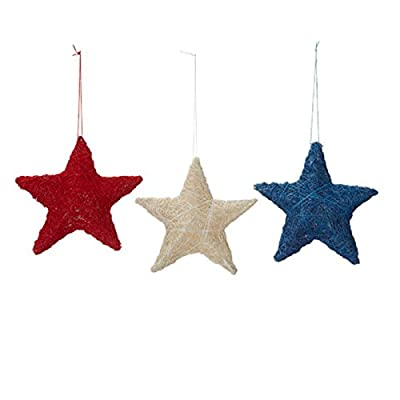 Darice Patriotic July 4th Decor - Sisal Star Red Blue White Ornaments
