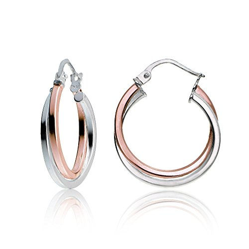 Hoops & Loops Rose Gold Flash Sterling Silver Two-Tone Intertwining Square-Tube Polished Hoop Earrings, 20mm