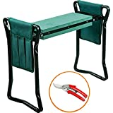 Garden Kneeler and Seat & 1 pair Garden Scissors– Protects Your Knees, Clothes from Dirt & Grass Stains – Foldable Stool for Ease of Storage – EVA Foam Pad – Sturdy and Lightweight, Gift for garden lover