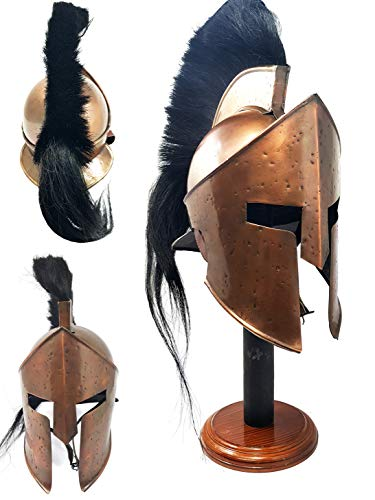 - Brass Nautical 300 King Spartan Helmet Black Plume Copper Finish 36073