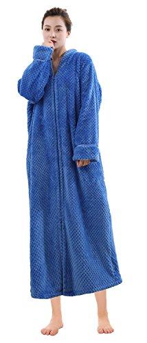 Soojun Women's Waffle Fleece Soft Zip Up Front Bathrobe, Blue, (Soft Zipper)