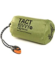 Tact Bivvy 2.0 Emergency Sleeping Bag, Compact Ultra Lightweight, Waterproof, Thermal Bivy Sack Cover, Emergency Shelter Survival Kit – w/Stuff Sack, Carabiner, Survival Whistle + ParaTinder