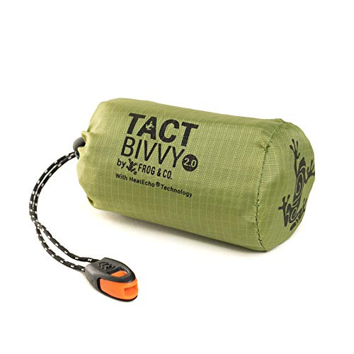 Tact Bivvy 2.0 Compact Ultra Lightweight Sleeping Bag - 100% Waterproof Ultralight Thermal Bivy Sack Cover, Emergency Space Blanket Liner Bags for Emergency Shelter, Tent Camping, Frog & CO (Green)