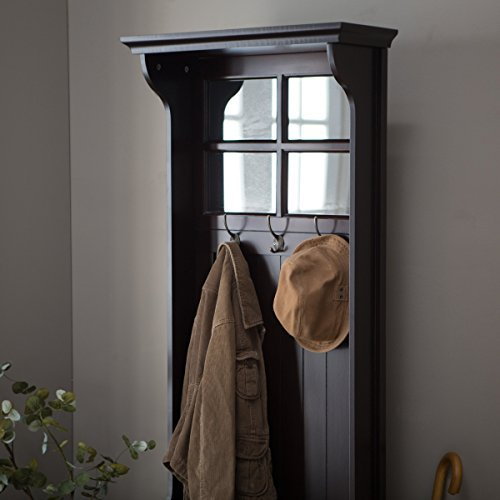 Great Quality Beautifully Crafted Richland Mini Hall Tree, Features Paned Mirror Top Under-seat Storage, Solid Wood Frame, 3 Double Hooks, Measures 24l X 17d X 70h In. by Belham Living