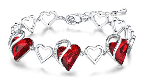 "Leafael ""Infinity Love Heart Bracelet Made with Swarovski Crystals Siam Ruby Red January July Birthstone Jewelry Gifts for Women, Silver-Tone, 7""+2"""