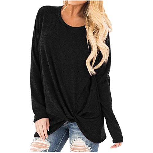 Sunhusing Women's Solid Color Twist Knot Round Neck Long Sleeve Top Loose Comfort Pullover T-Shirt
