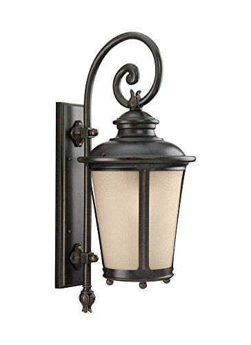 Sea Gull Lighting 8824291S-780 LED Cape May Large Outdoor Wall Lantern in Burled Iron Finish with Etched Amber Tint Hammered Glass, Burled Iron