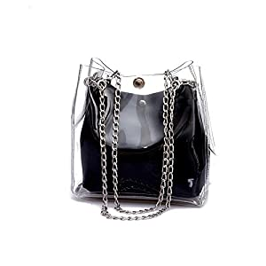 Hurber Women's Clear Jelly Crossbody Bag Transparent Handbag PVC Purse Shoulder Bag