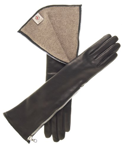 Black Italian Leather Long Gloves (Fratelli Orsini Women's Elbow Length Italian Cashmere Lined Gloves Size 7 1/2 Color Black)