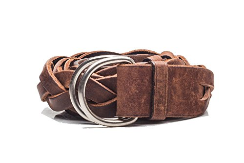 Prada Women's Vintage Braided D-Ring Calf Leather Belt Brown by Prada