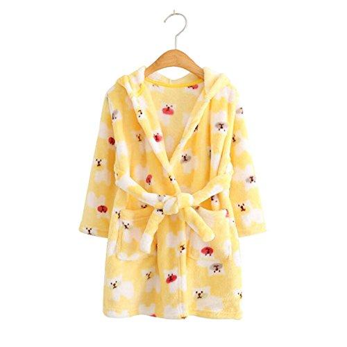 Kids Coral Fleece Bathrobe Robe Boys And Girls Hooded Robe Shawl Toddler Pajamas (18 Month - 24 Month, Yellow Polar bear)