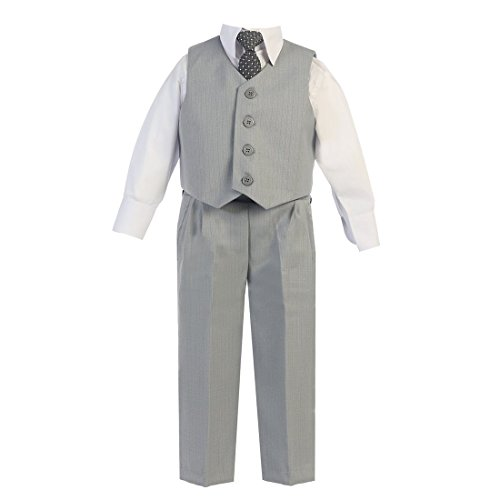 Lito Little Boys Light Gray Vest Pants Special Occasion Easter Outfit Set 7