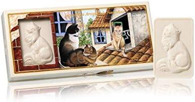 Gato, Jabón vegetal rectangular tallado con gato, Pack de 3 jabones esculpidos, 3 x 125 gr: Amazon.es: Belleza