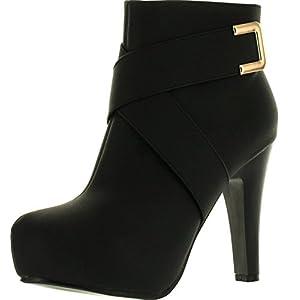 Top Moda Polish-7 Women's High Top Ankle Golden Buckled Crossing Straps Side Zip Platform High Heels Booties,Black,6.5