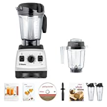 Vitamix 7500 Blender Super Package, with 32oz Dry Grains Jar and 2- 20oz To-Go Cups (White) by Vitamix