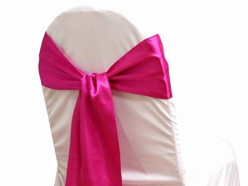 MDS Pack of 25 satin chair sashes bow sash for wedding and Events Supplies Party Decoration chair cover sash -Magenta (Magenta Chair)