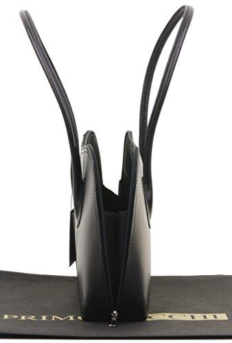 fait de cabas italien de Sacchi Grab main de cuir rangement manche sac Primo ou à marque de en lisse bandoulière main long protection sac à sac Comprend à style un Noir classique wCYndaax