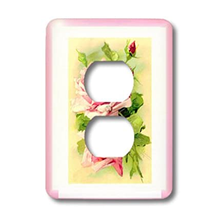 3dRose Lsp_171554_6 Image Of Shabby Chic Pink Roses Feminine Painting Light  Switch Cover