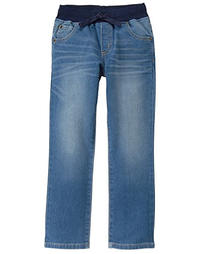 Ribbed Denim (Gymboree Big Boys' Straight Leg Soft Jeans With Ribbed Waist, Light Denim, 5)