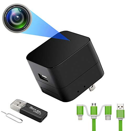 [Upgraded] USB Charger with1080P WiFi Spy Camera Hidden Camera Mini Camera Nanny Camera with Motion Detection, Loop Recording for Home and Office Security Surveillance Support iOS/Android
