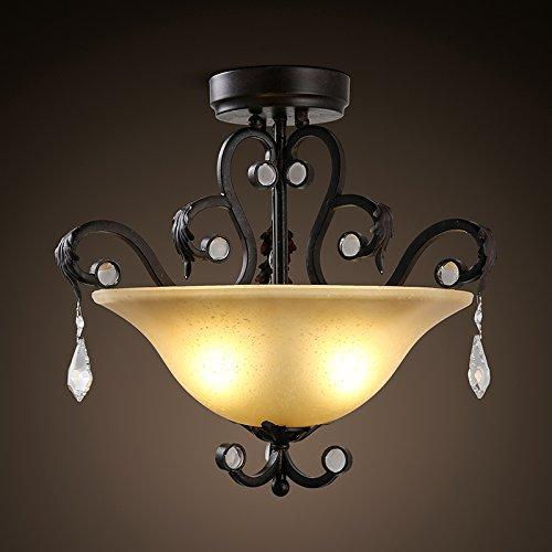 BLYC- Amerikanische Vintage Crystal Östliches Mittelmeer Semi Decke Wohnzimmer Schlafzimmer Kunst Eisen Kunst Glas Lampe 465 * 465 mm