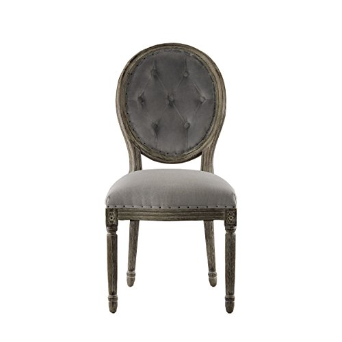 Curations 8827.0014 French Vintage Louis Side Chair, Grey (Louis Side Chair)