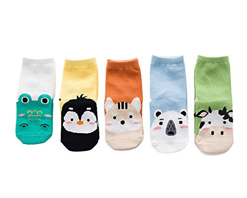YEAPOOK Cozy Toddler Baby Socks Girls Boys Cute Cartoon Animal Cotton Socks for Babies Kids 5 Pairs S(1t-3t)
